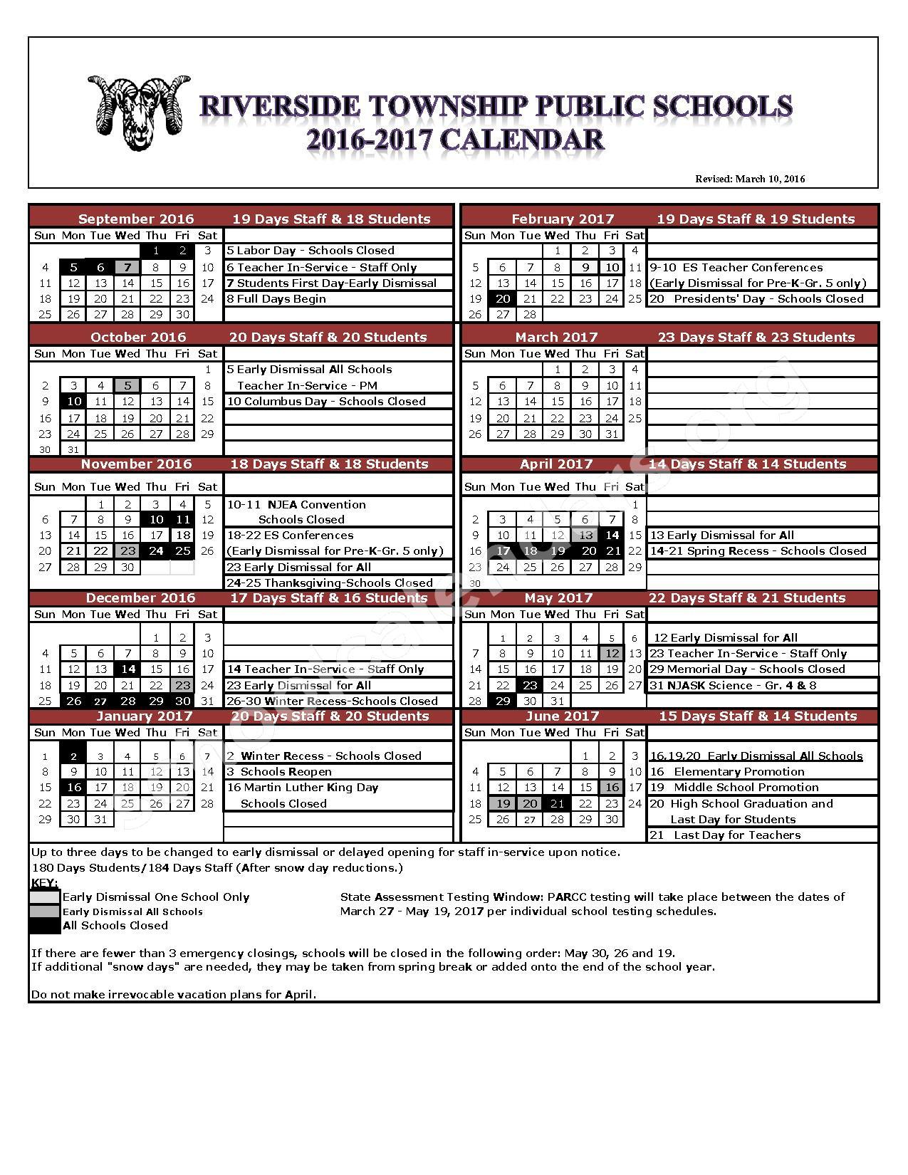 2016 - 2017 School Calendar – Riverside Township Public School District – page 1