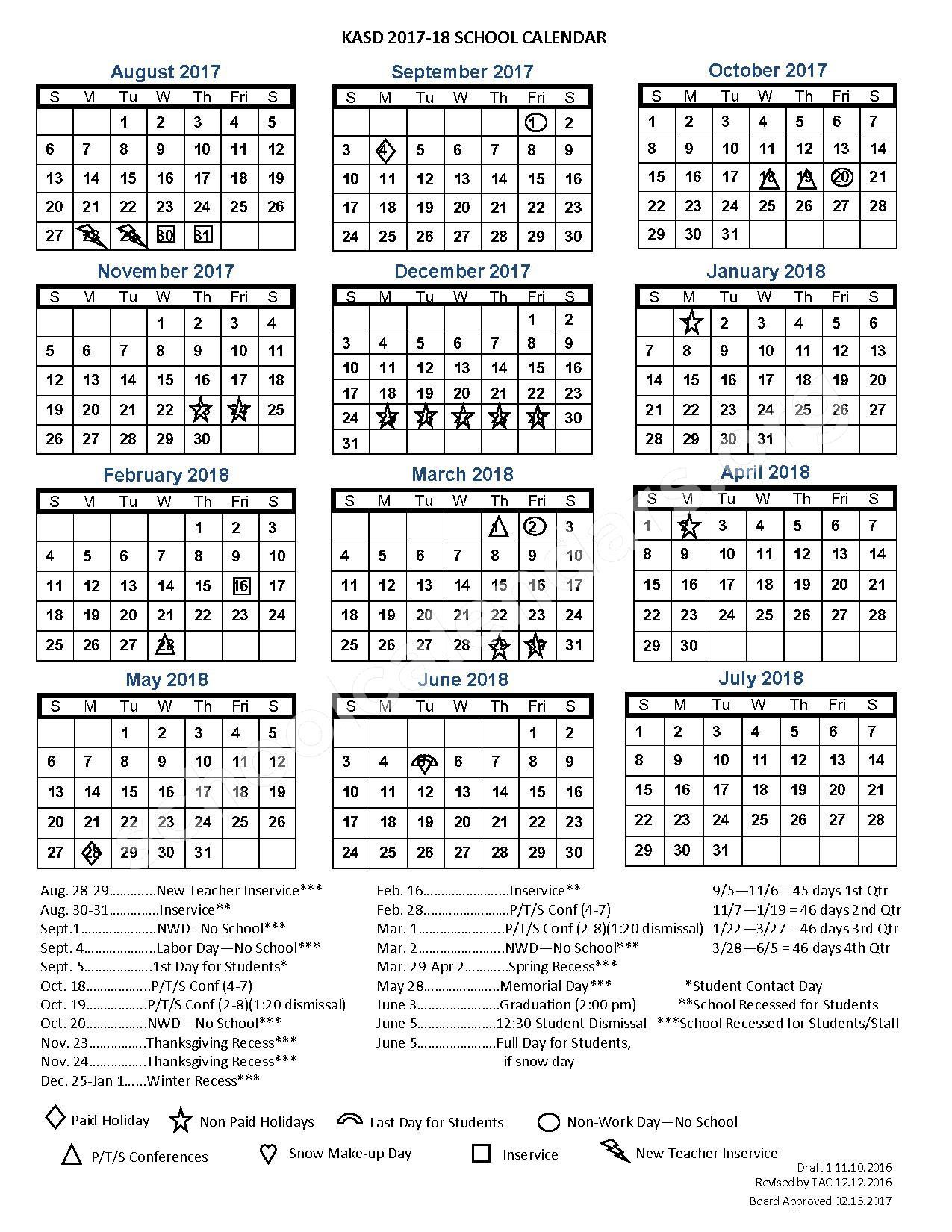 2017 - 2018 School Calendar – Kiel Area School District – page 1