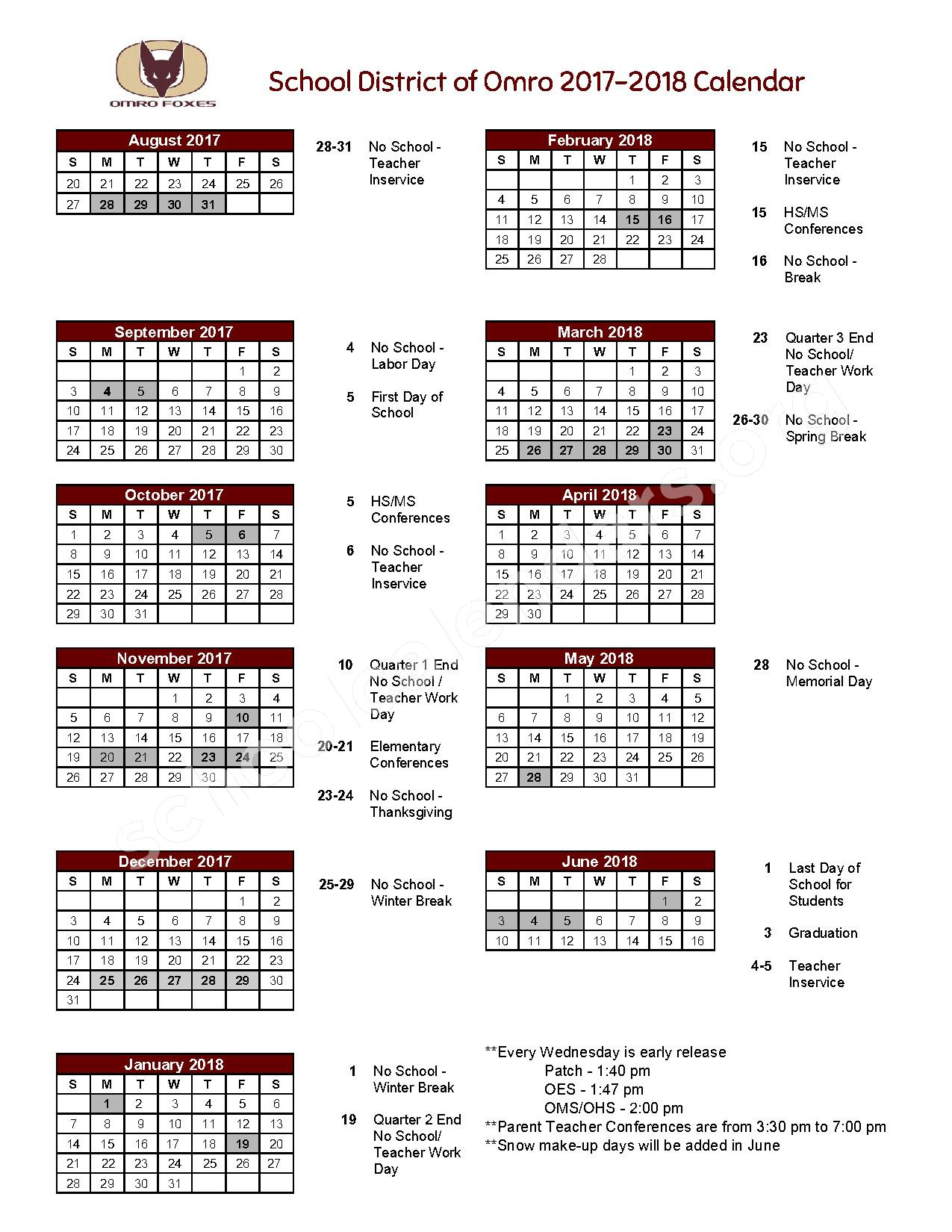 2017 - 2018 District Calendar – Omro School District – page 1