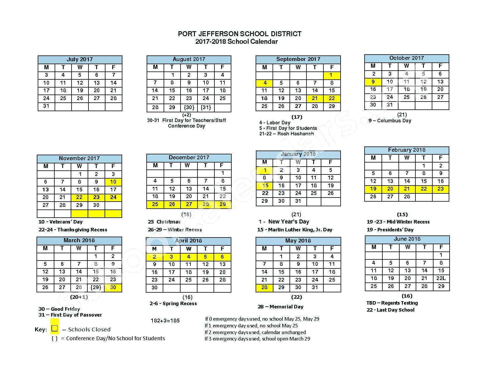 2017 - 2018 School Calendar – Port Jefferson Union Free School District – page 1