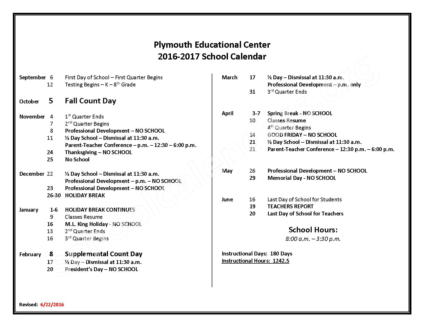 2016 - 2017 School Calendar – Plymouth Educational Center – page 1