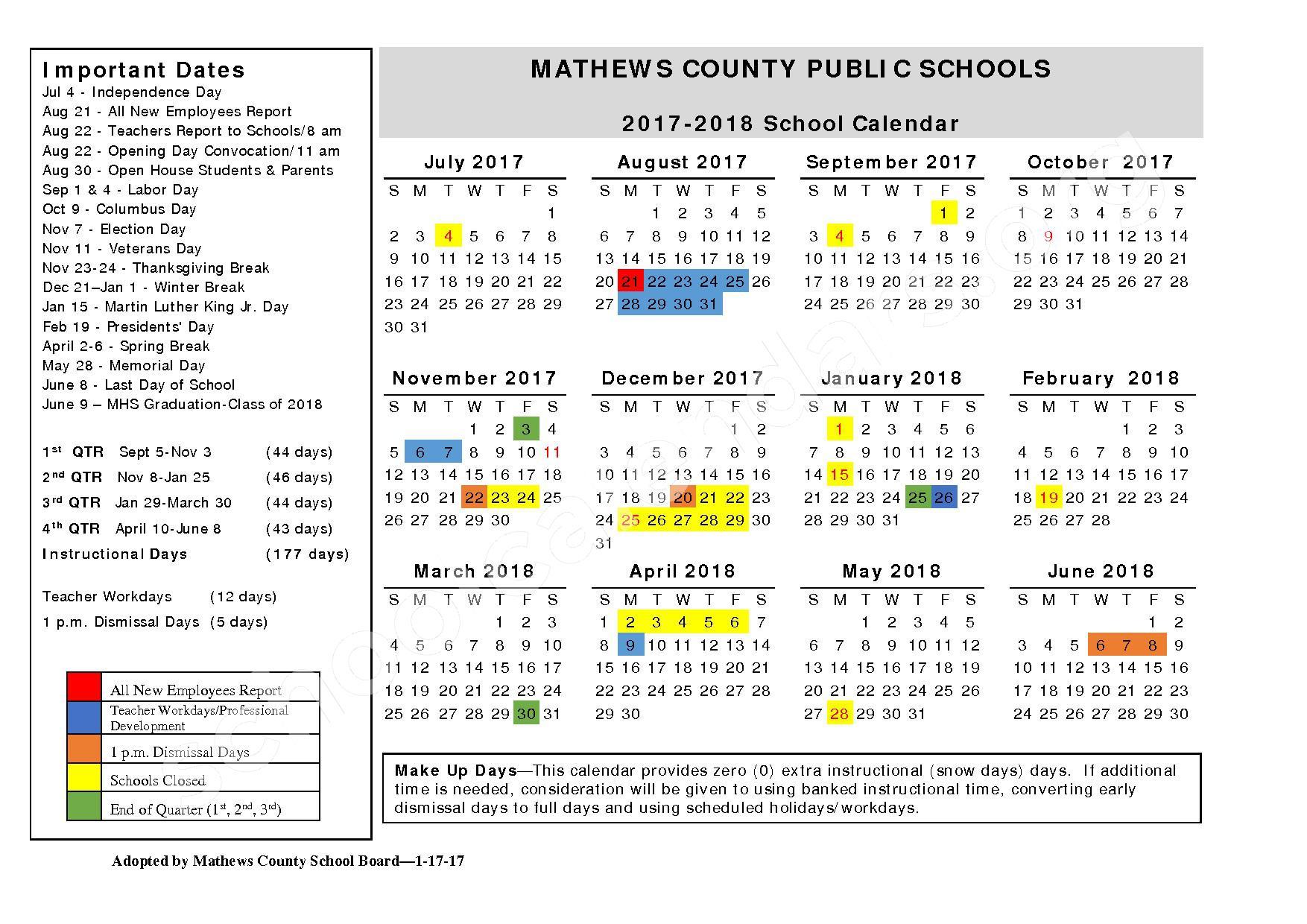 2017 - 2018 School Calendar – Mathews County Public Schools – page 1