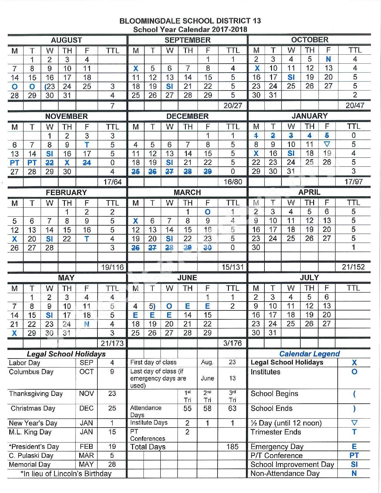 2017 - 2018 School Calendar – Bloomingdale School District 13 – page 1