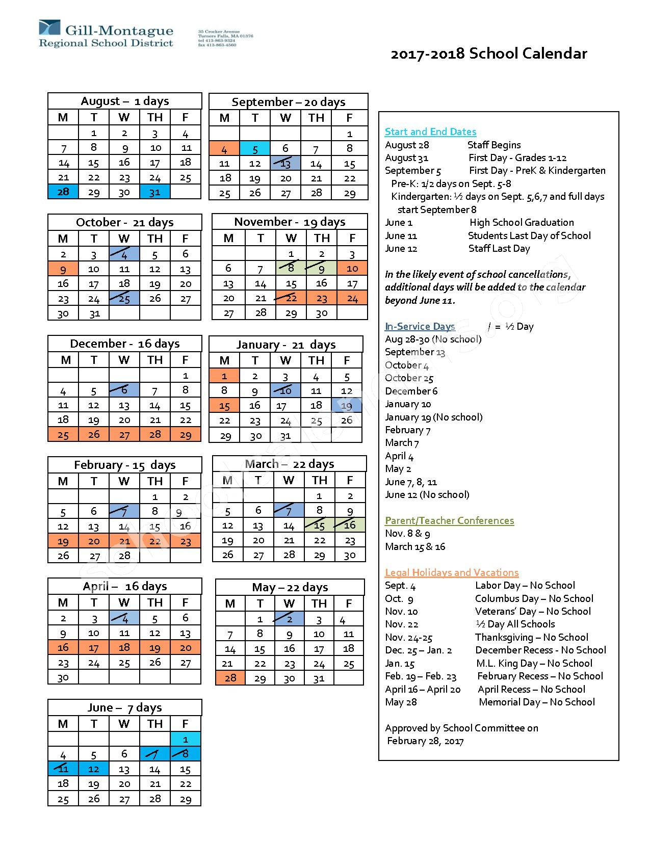 2017 - 2018 District Calendar – Gill-Montague Regional School District – page 1