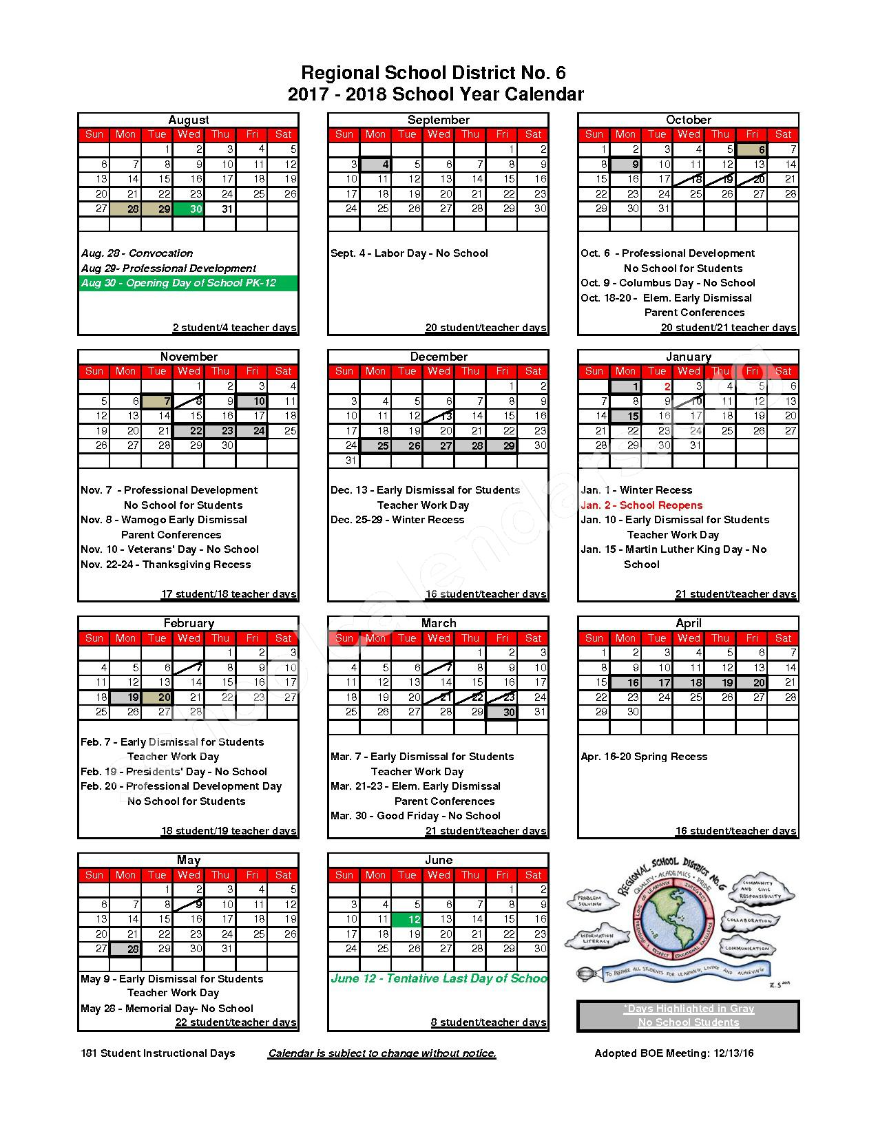 2017 - 2018 District Calendar – Regional Public Schools 6 – page 1