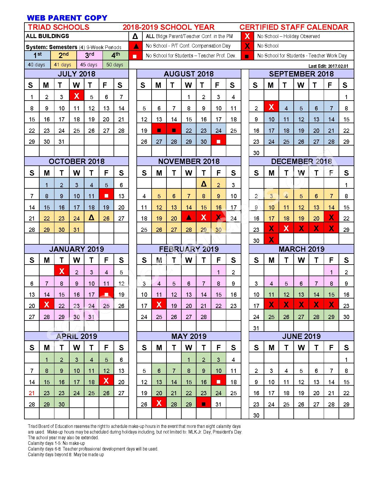 2018 - 2019 School Calendar – Triad Local Schools – page 1