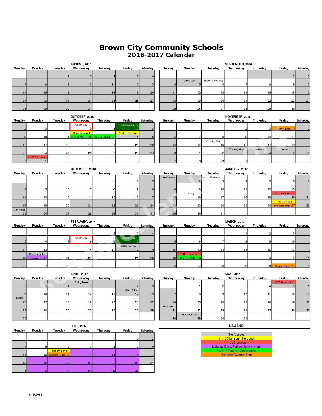 2016 - 2017 District Calendar – Brown City Community Schools – page 1