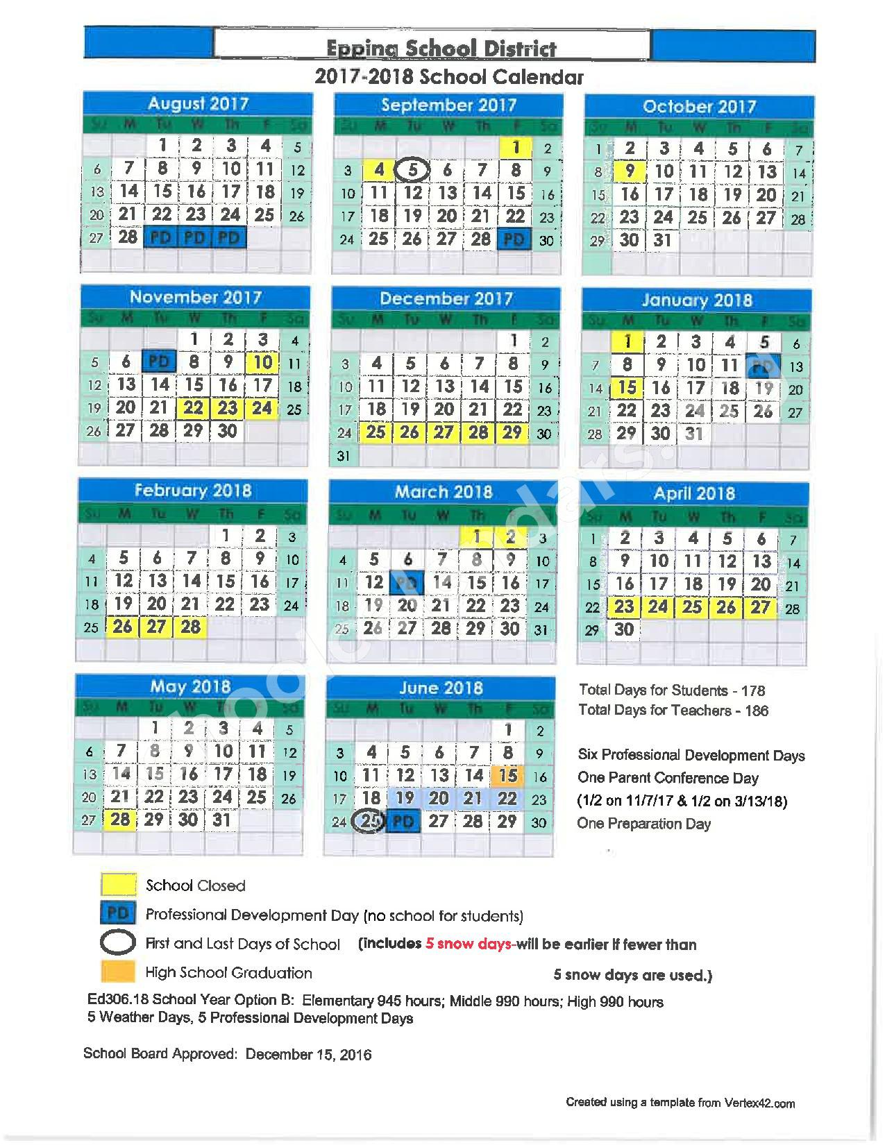 2017 - 2018 District Calendar – SAU 14 - Epping School District – page 1