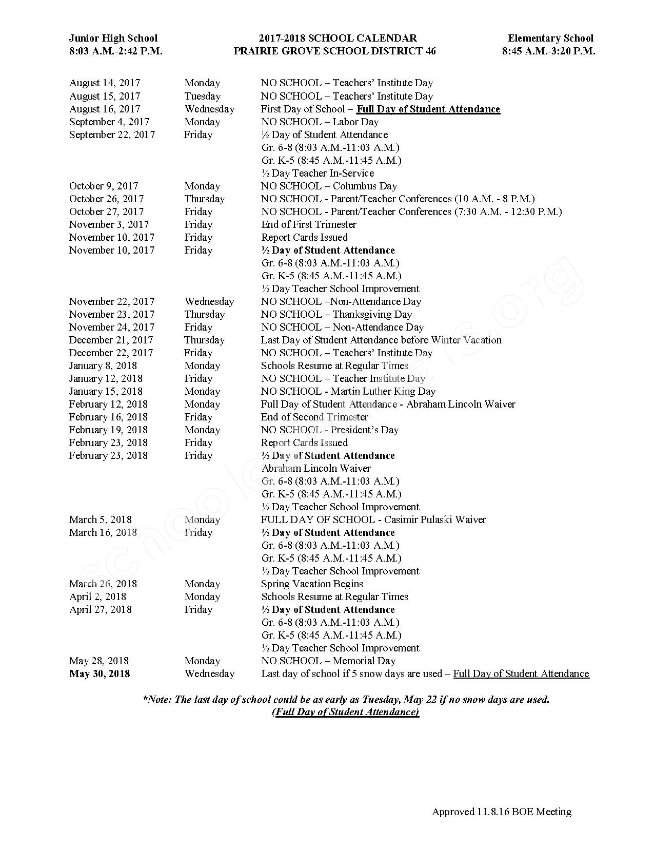 2017 - 2018 District Calendar – Prairie Grove Consolidated School District 46 – page 1