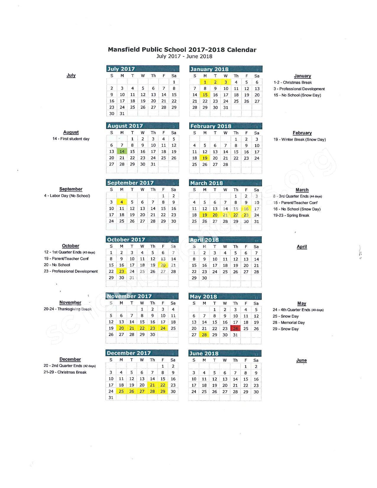 2017 - 2018 School Calendar – Mansfield School District – page 1