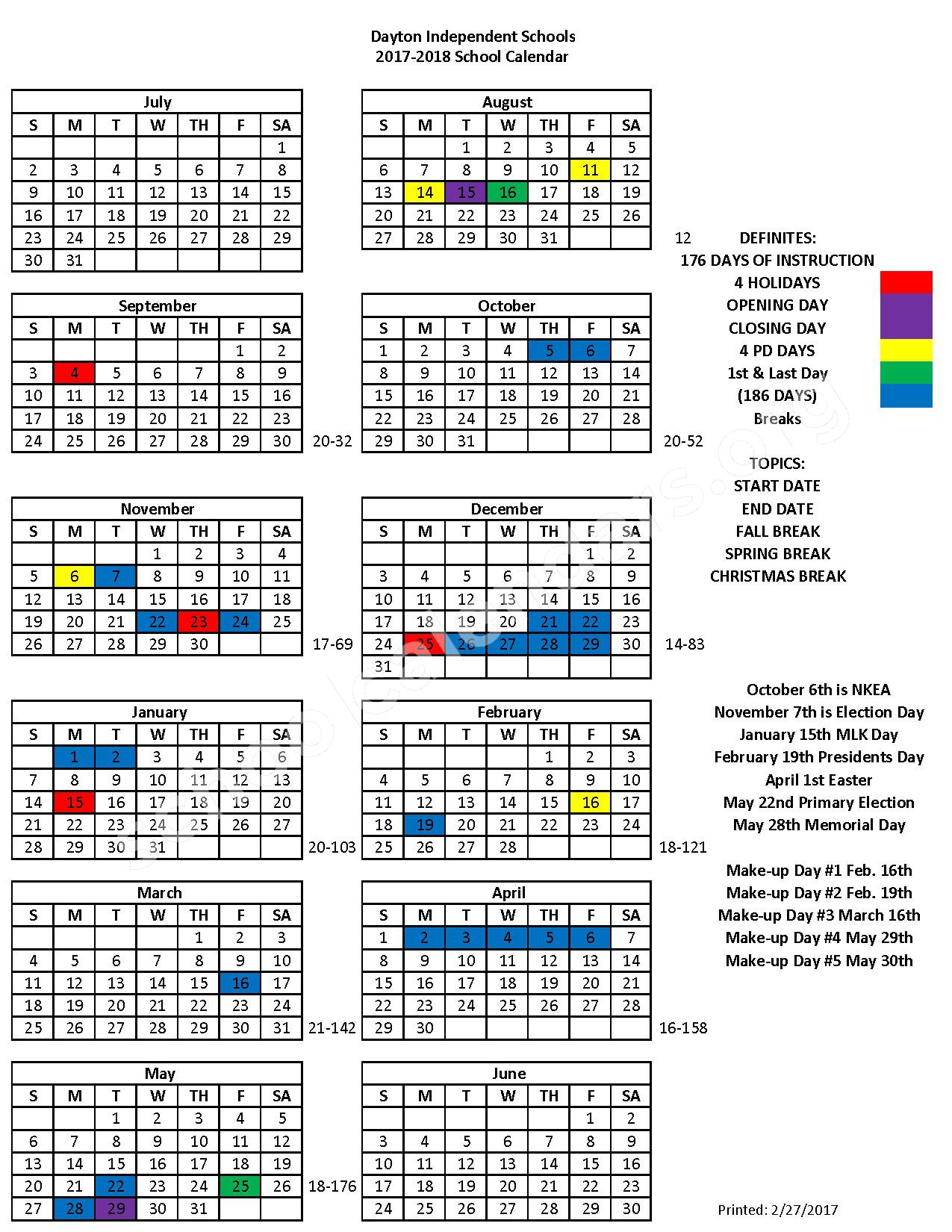 2017 - 2018 School Calendar – Dayton Independent School District – page 1