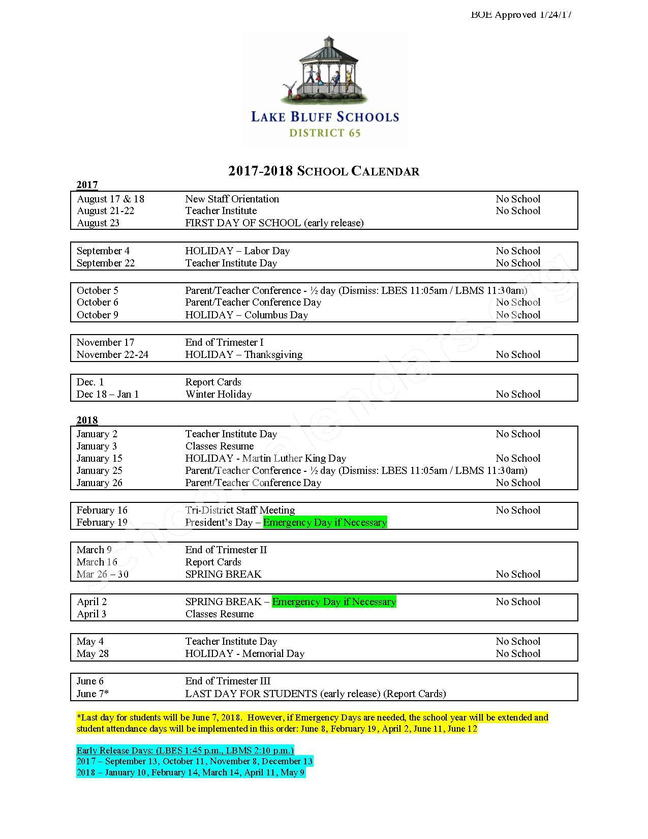 2017 - 2018 School Calendar – Lake Bluff Elementary School District 65 – page 1