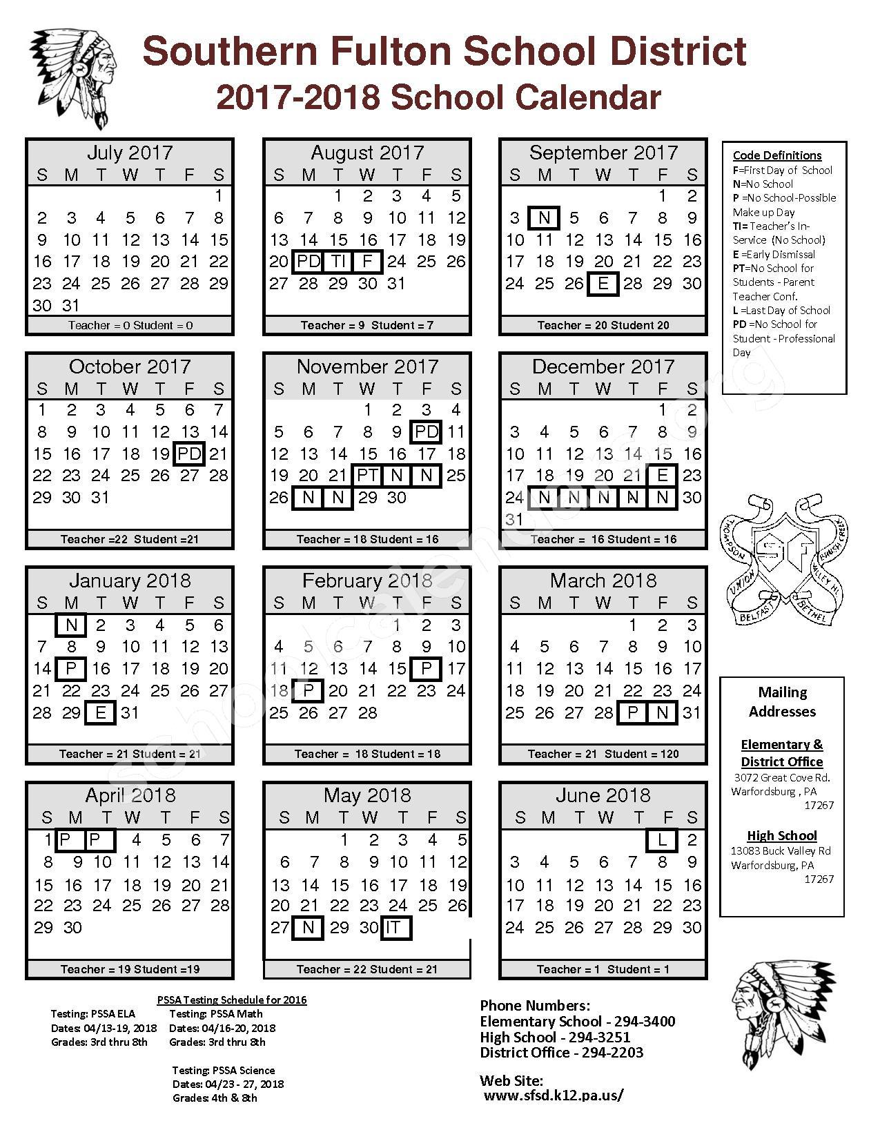 2017 - 2018 District Calendar – Southern Fulton School District – page 1