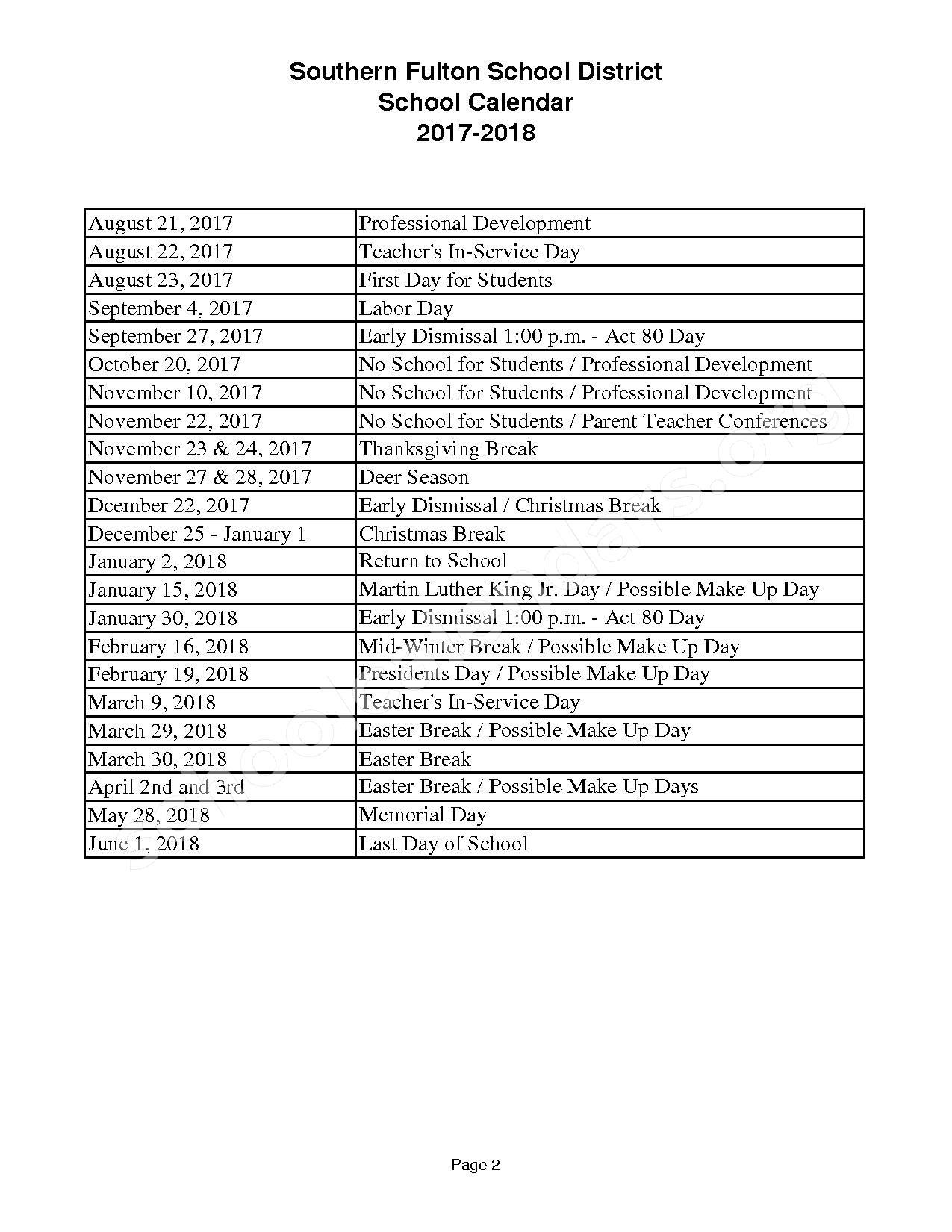 2017 - 2018 District Calendar – Southern Fulton School District – page 2