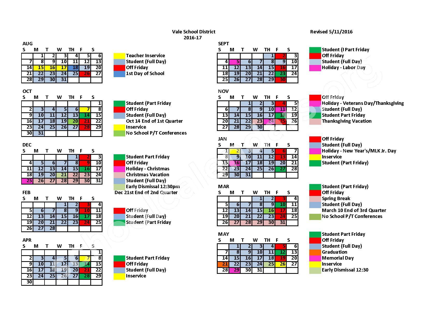 2016 - 2017 School Calendar – Vale School District – page 1
