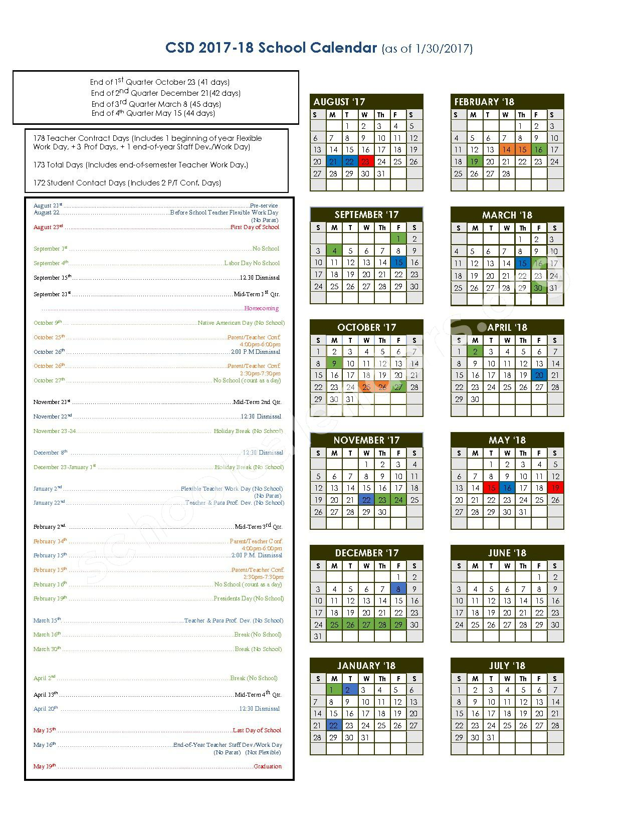 2017 - 2018 District Calendar – Chamberlain School District 07-1 – page 1