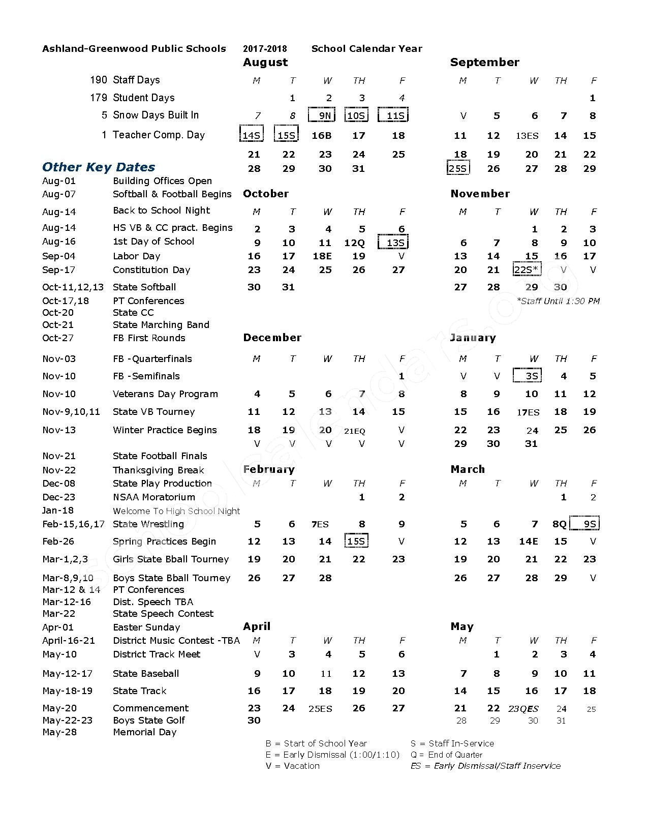 2017 - 2018 District Calendar – Ashland-Greenwood Public Schools – page 1