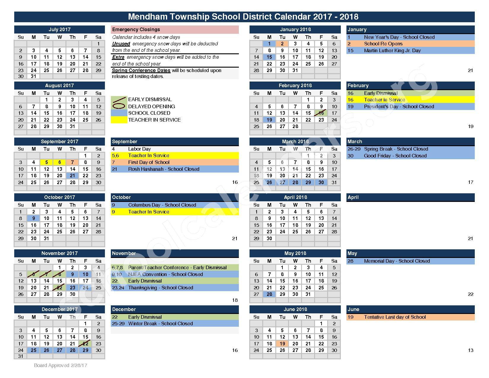 2017 - 2018 School Calendar – Mendham Township Public Schools – page 1