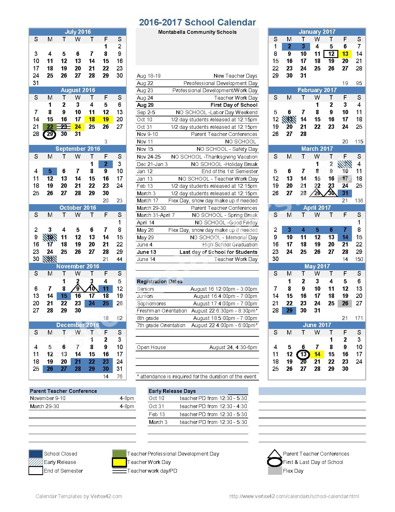 2016 - 2017 District Calendar – Montabella Community Schools – page 1
