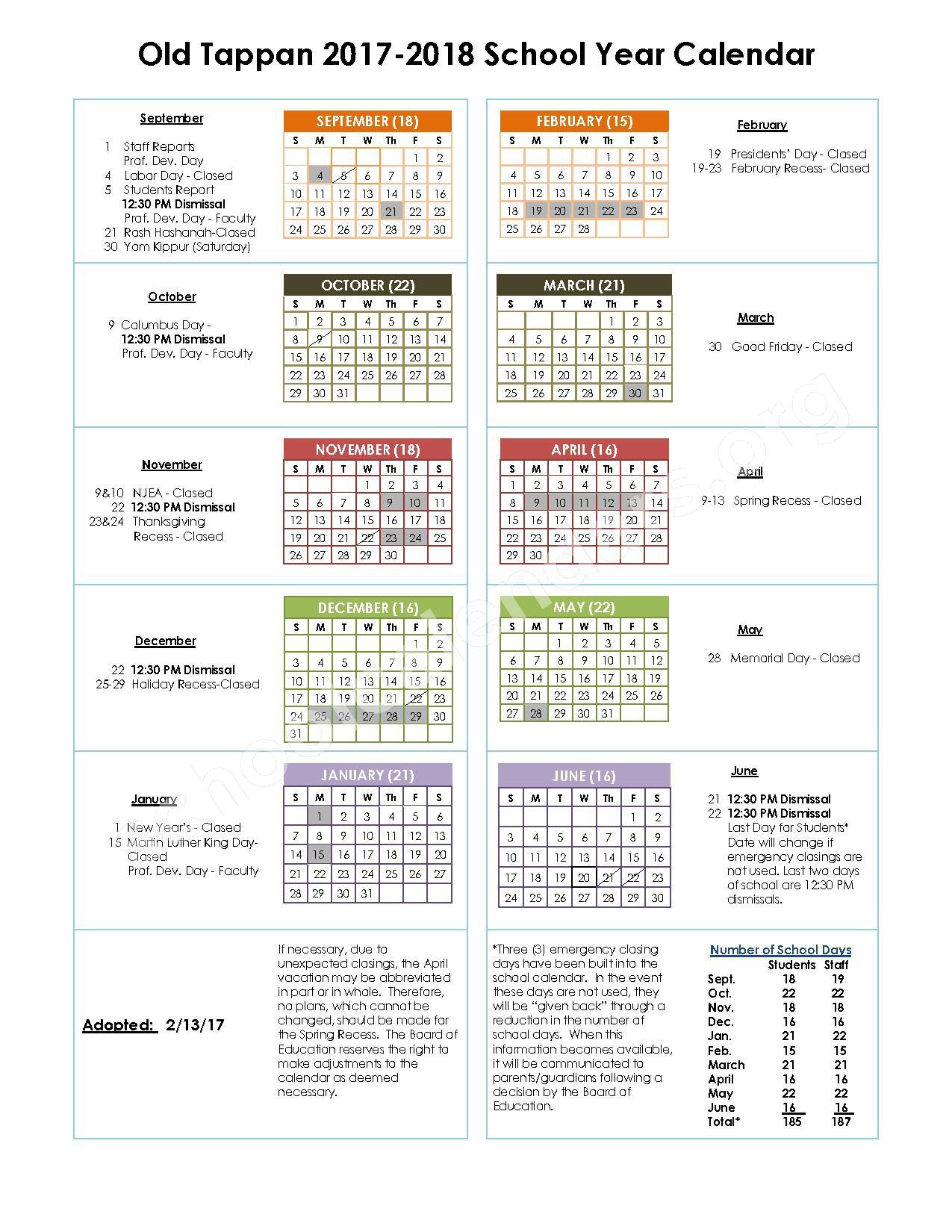 2017 - 2018 School Calendar – Old Tappan Public Schools – page 1