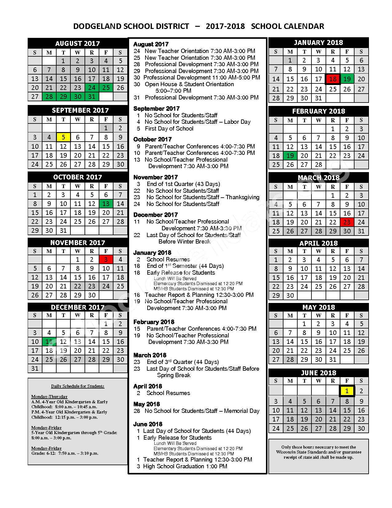 2017 - 2018 School Calendar – Dodgeland School District – page 1