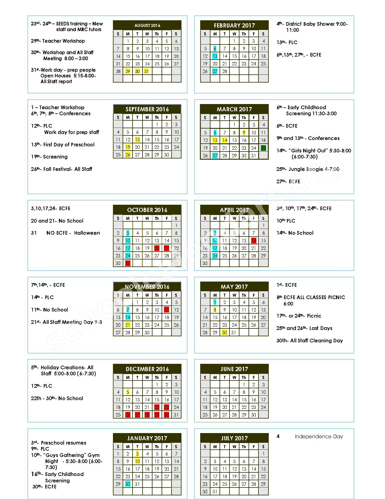 2016 - 2017 School Calendar – Lake Crystal-Wellcome Memorial – page 1