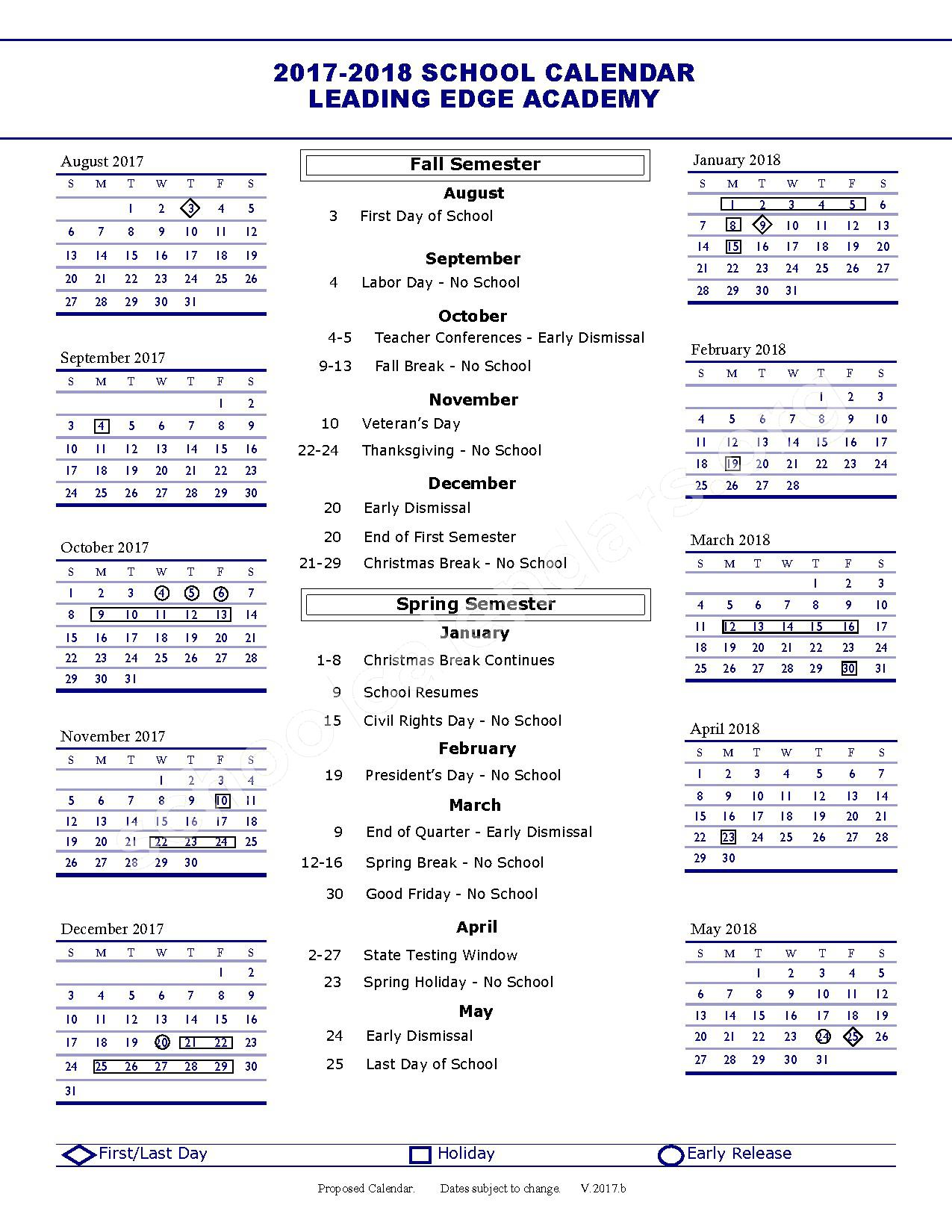2017 - 2018 District Calendar – Leading Edge Academy Gilbert – page 1