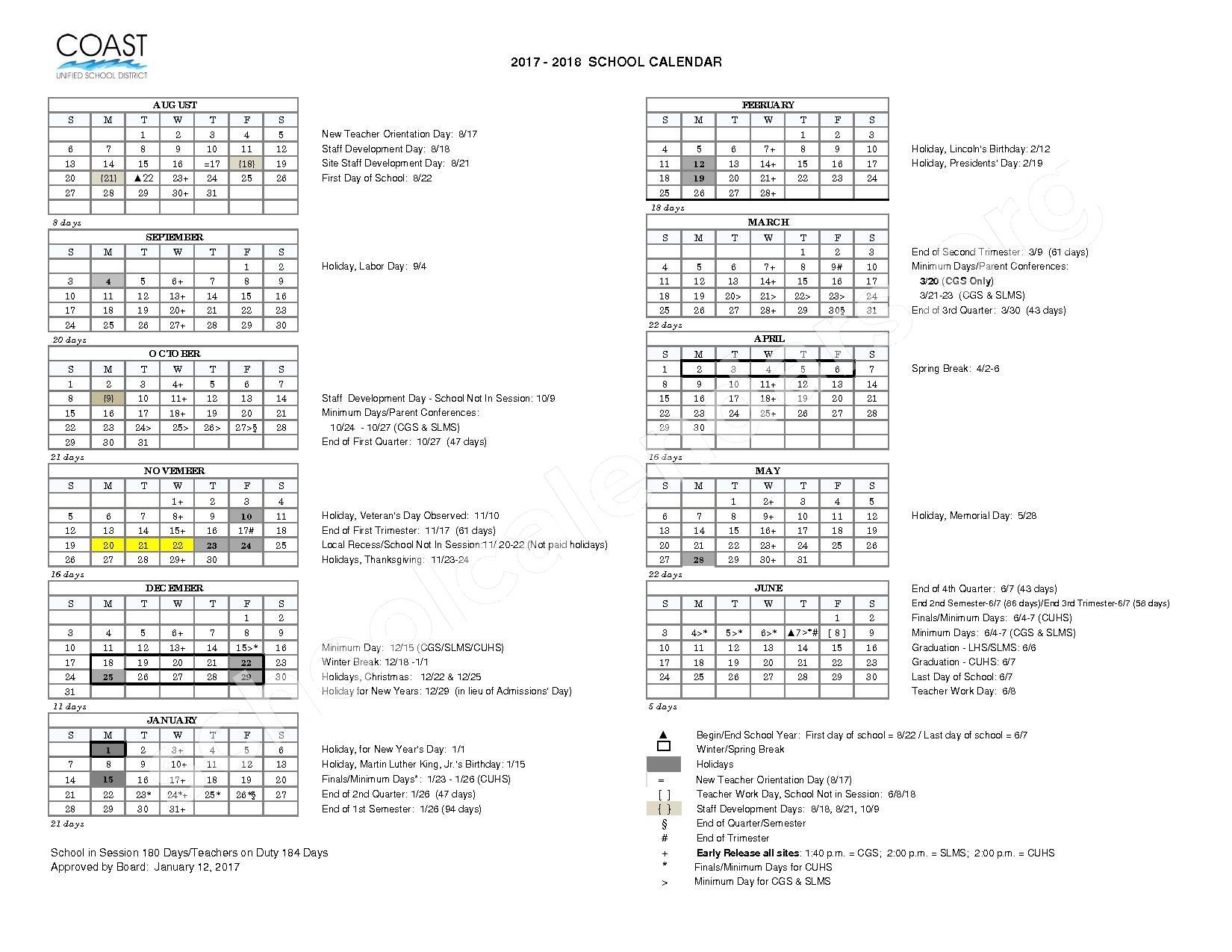 2017 - 2018 District Calendar – Coast Unified School District – page 1