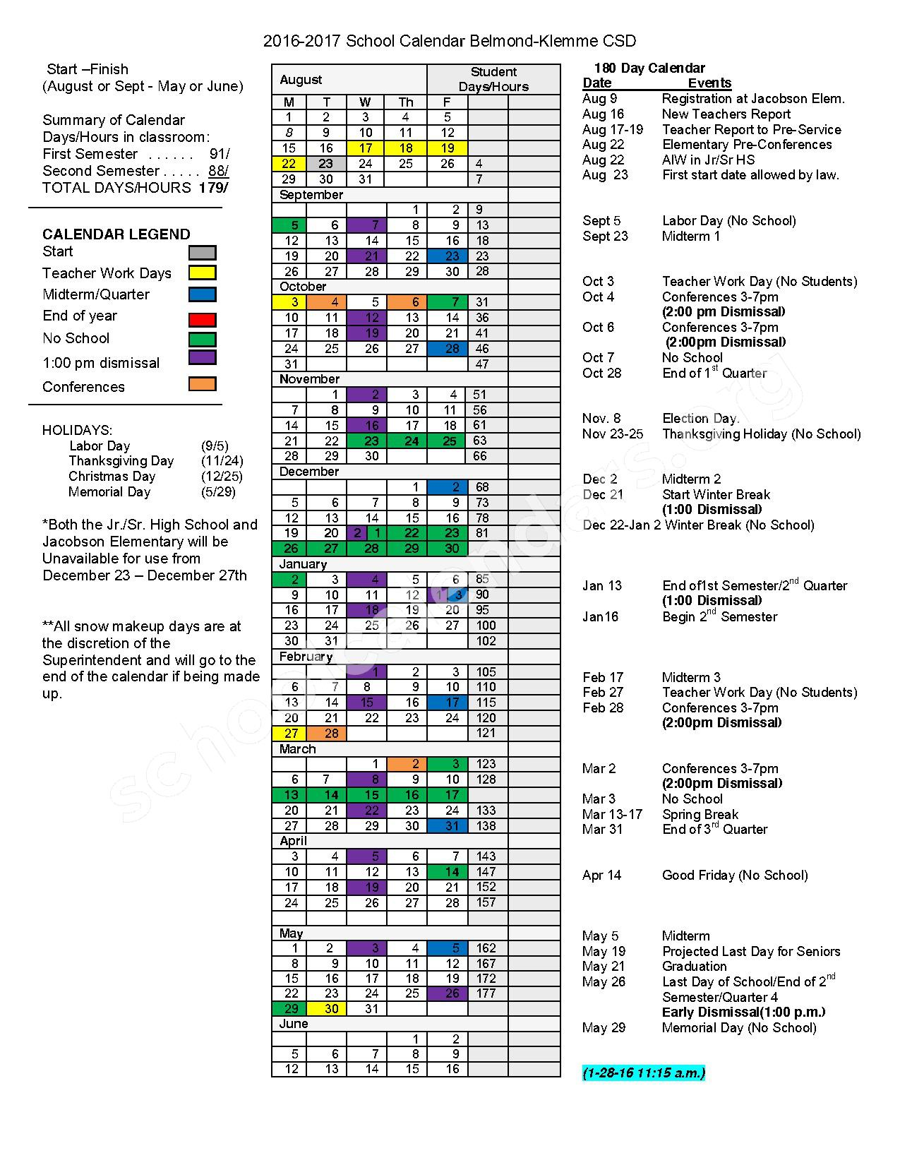 2016 - 2017 School Calendar – Belmond-Klemme Community School District – page 1