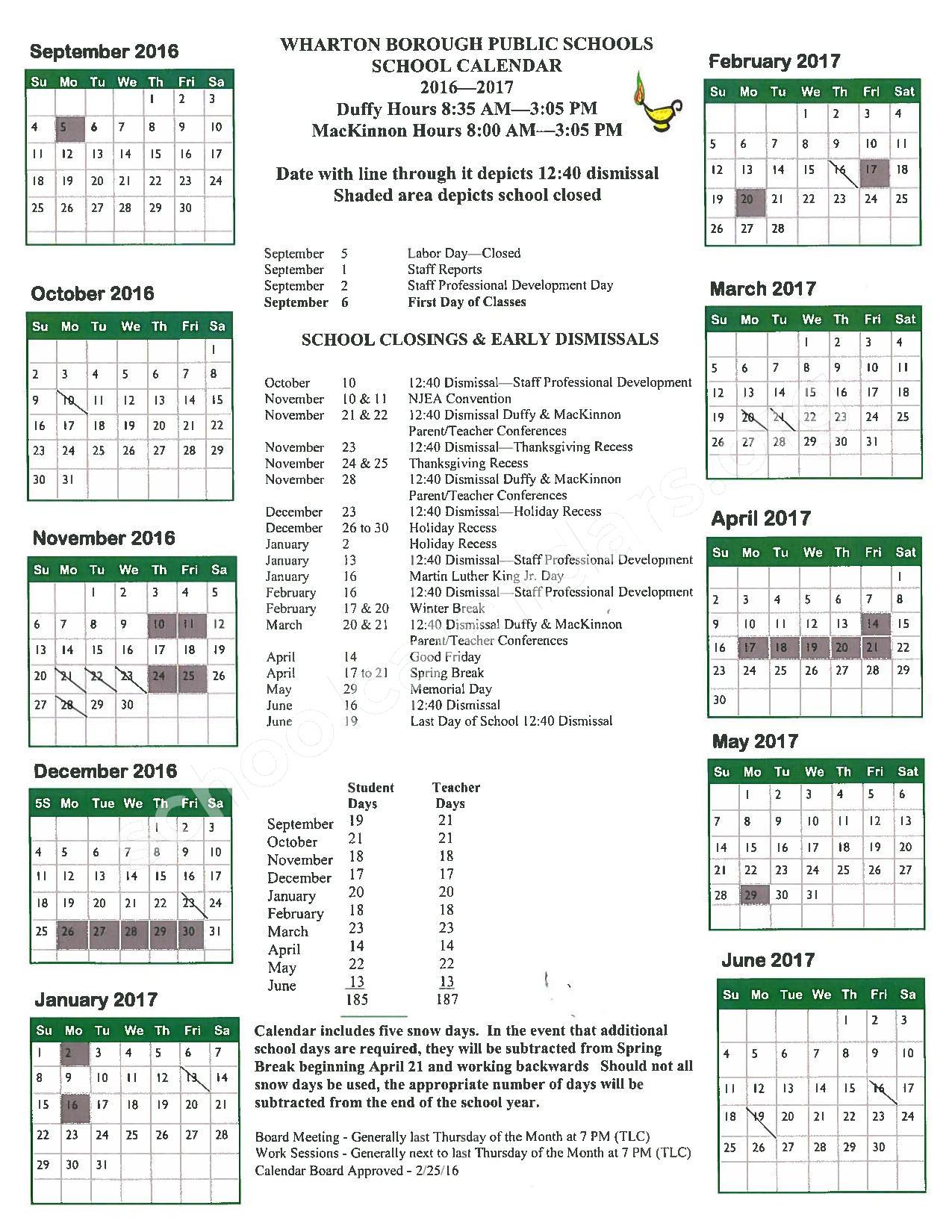 2017 - 2018 School Calendar – Wharton Borough School District – page 1