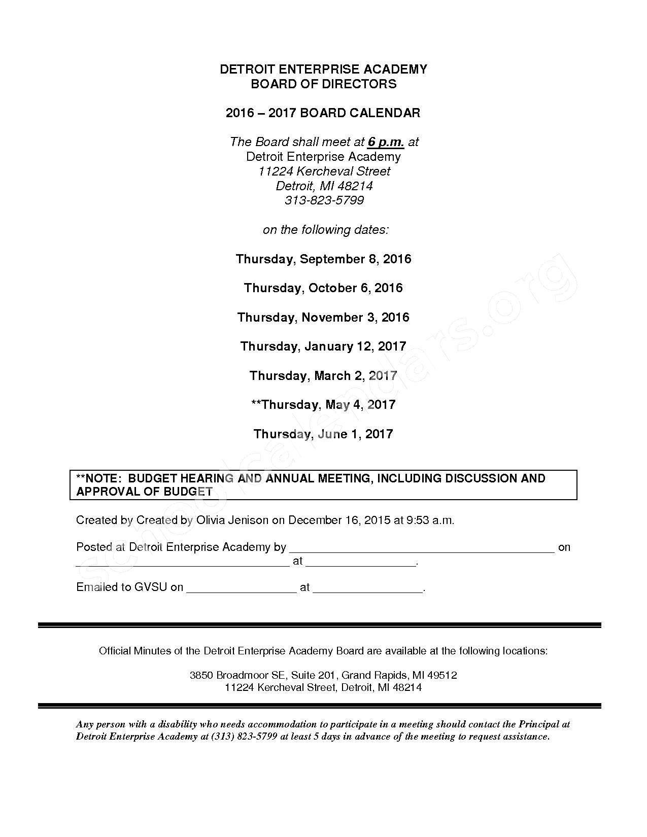 2016 - 2017 School Calendar – Detroit Enterprise Academy – page 1