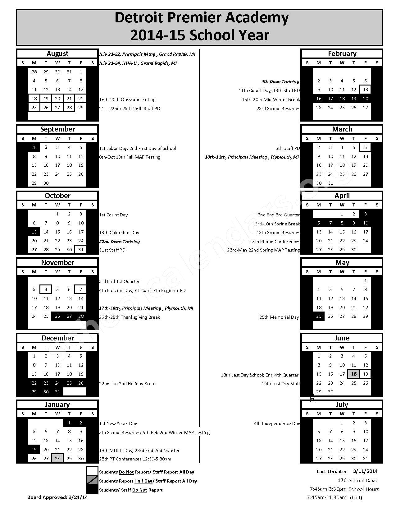 2014 - 2015 School Calendar – Detroit Premier Academy – page 1