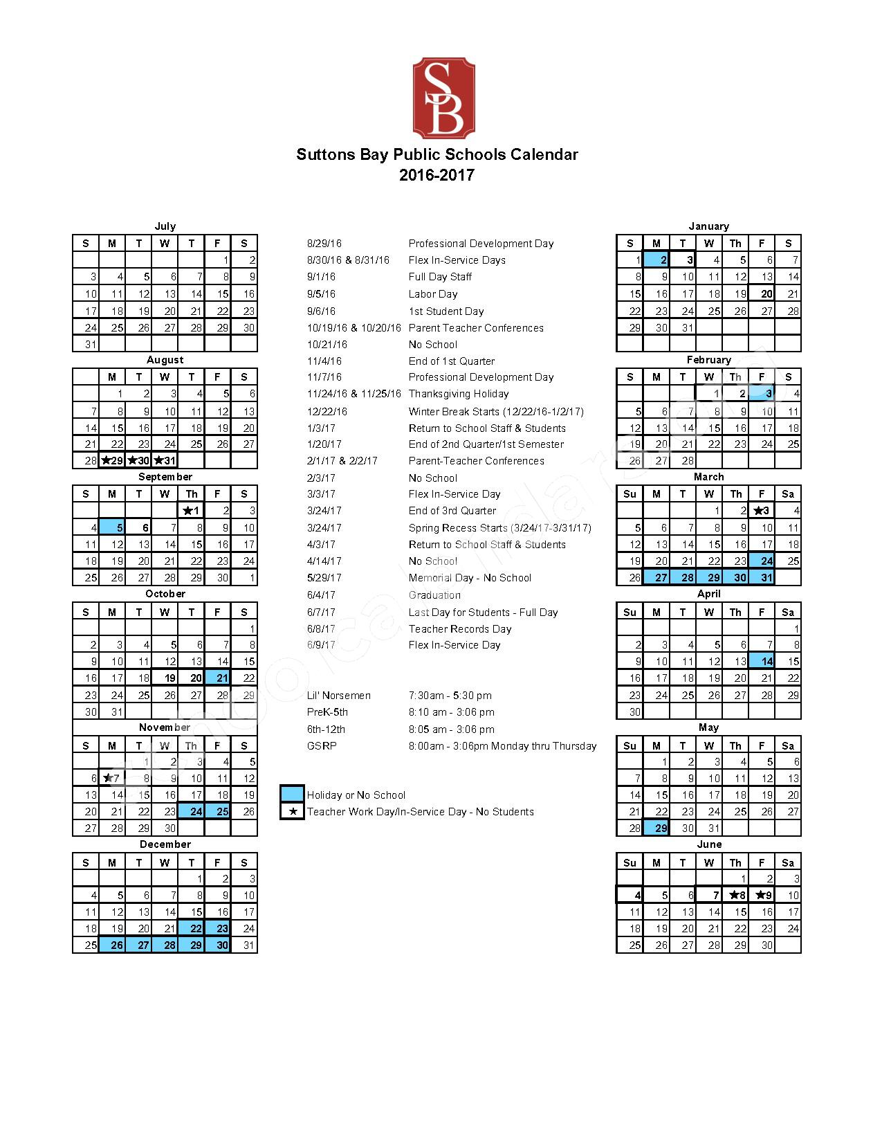2016 - 2017 School Calendar – Suttons Bay Public Schools – page 1