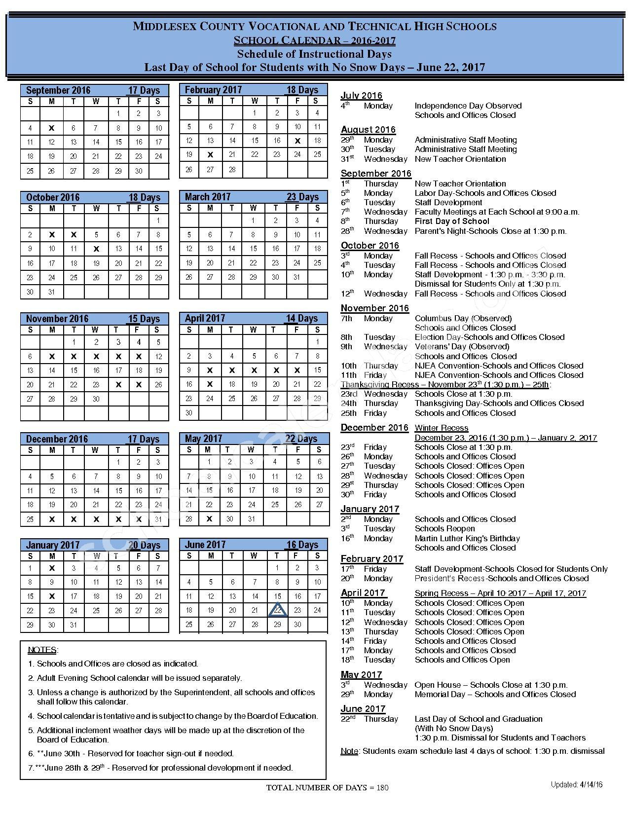 2016 - 2017 District Calendar – Jamesburg Public Schools – page 1