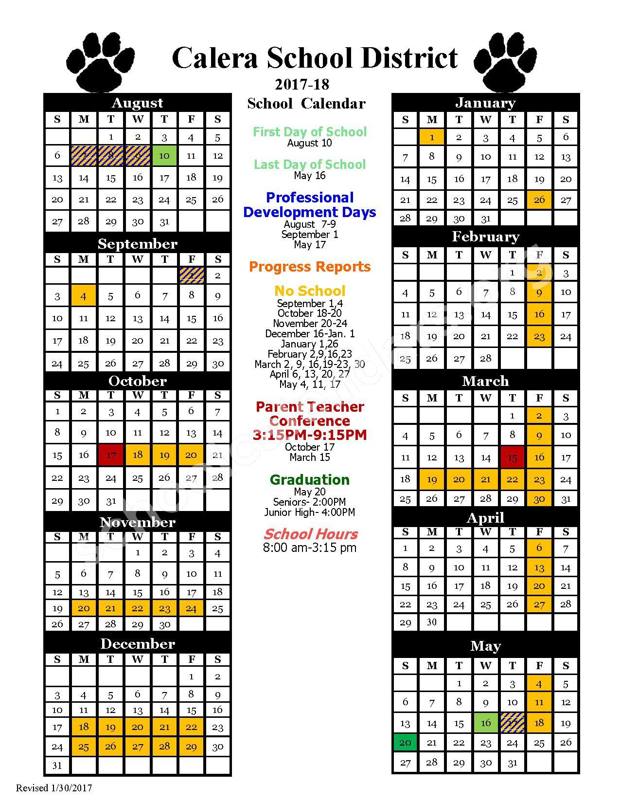 2017 - 2018 School Calendar – Calera Public Schools – page 1