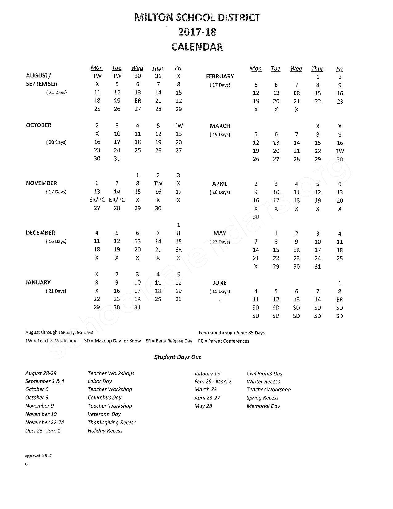 2017 - 2018 District Calendar – SAU 64 - Milton School District – page 1
