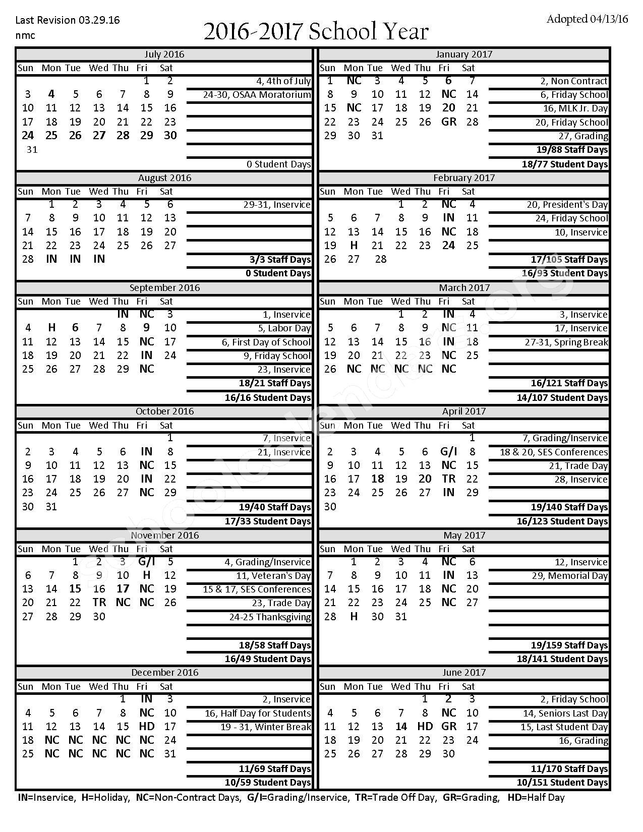 2016 - 2017 District Calendar – Santiam Canyon School District – page 1