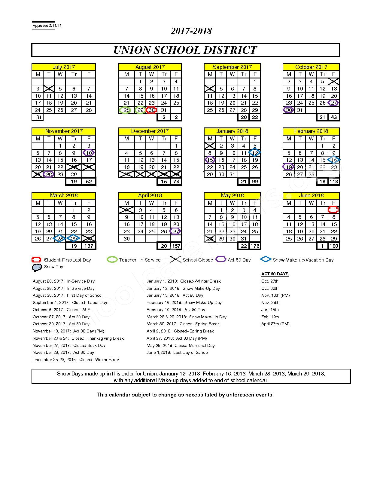 2017 - 2018 Academic Calendar – Union School District – page 1