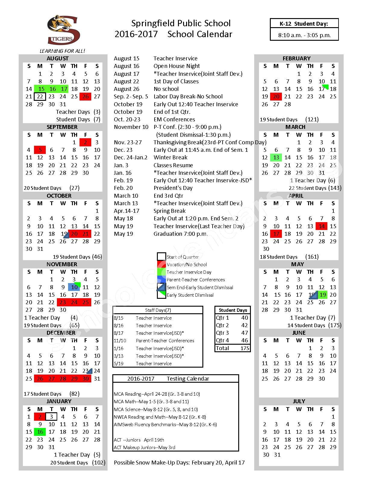 2016 2017 School Calendar