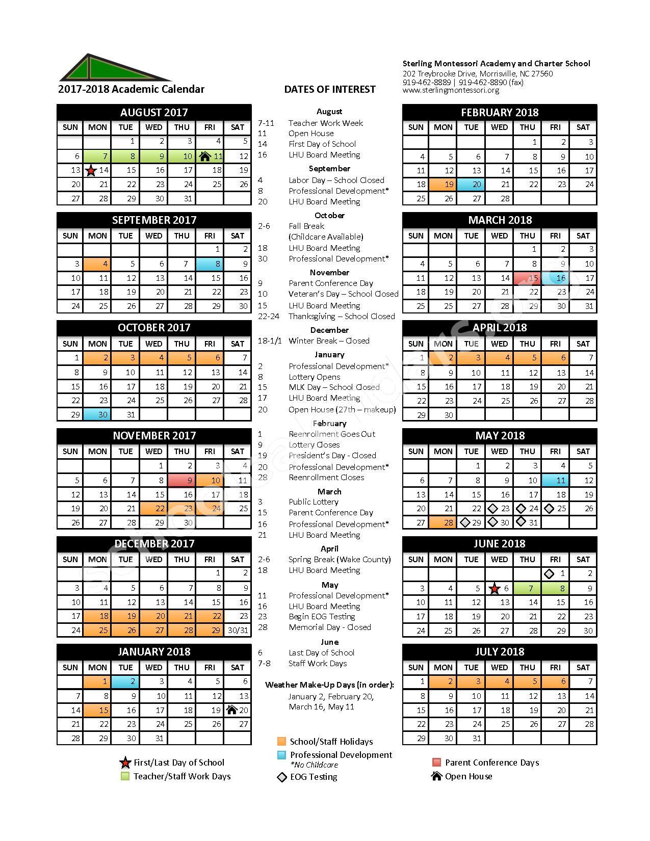 2017 - 2018 School Calendar – Sterling Montessori Academy – page 1