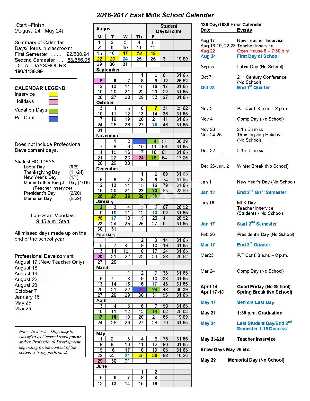 2016 - 2017 School Calendar – East Mills Community School District – page 1