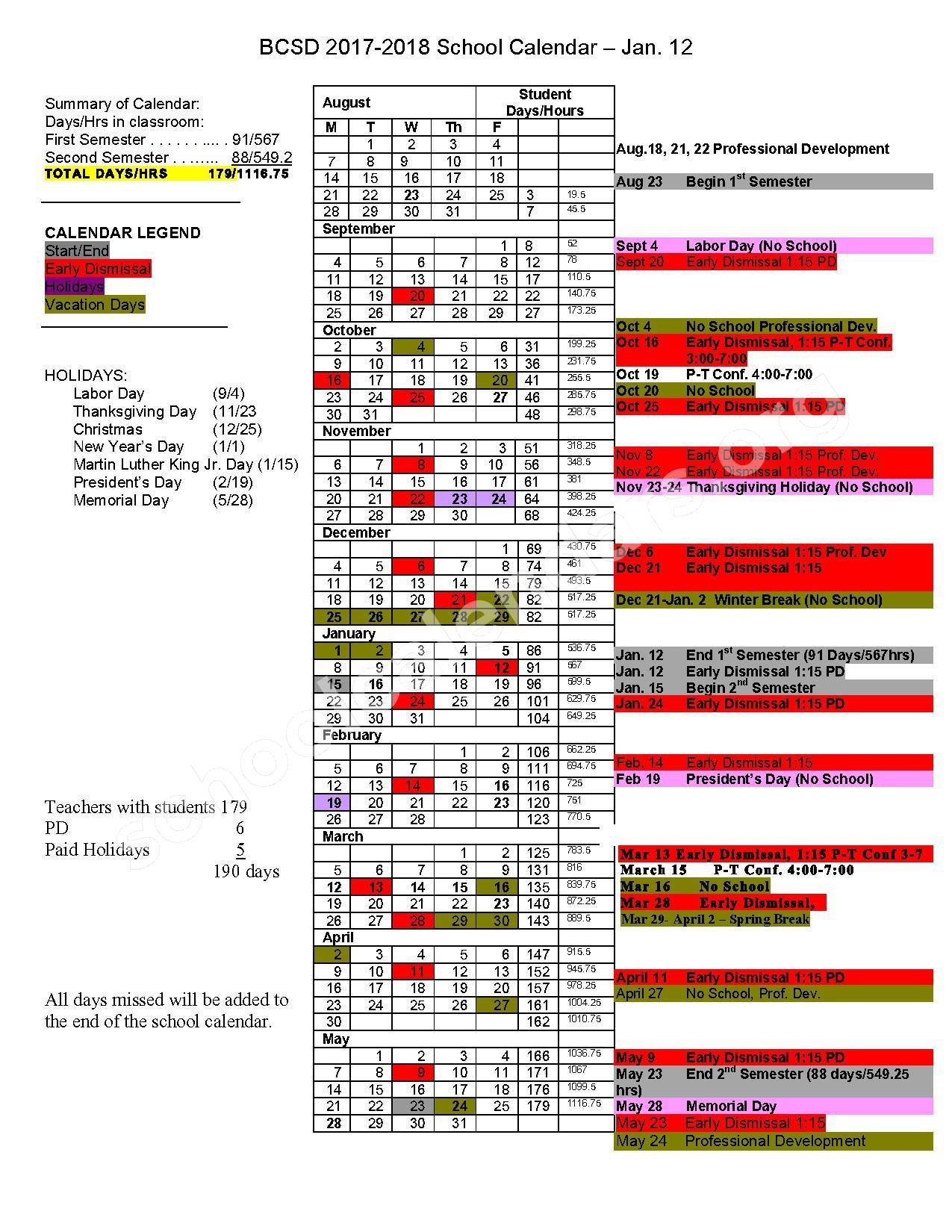 2017 - 2018 School Calendar – Bedford Community School District – page 1