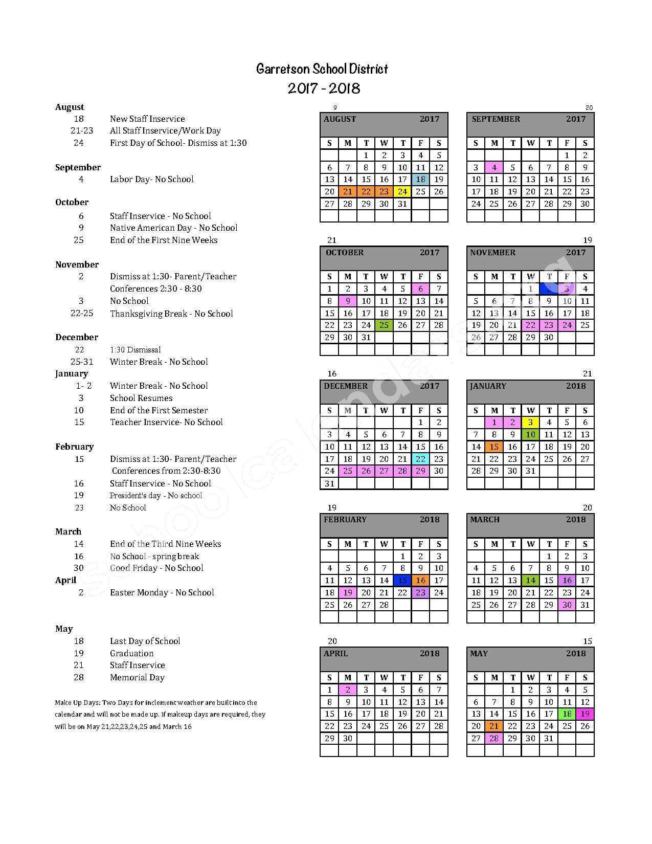 2017 - 2018 School Calendar – Garretson School District 49-4 – page 1