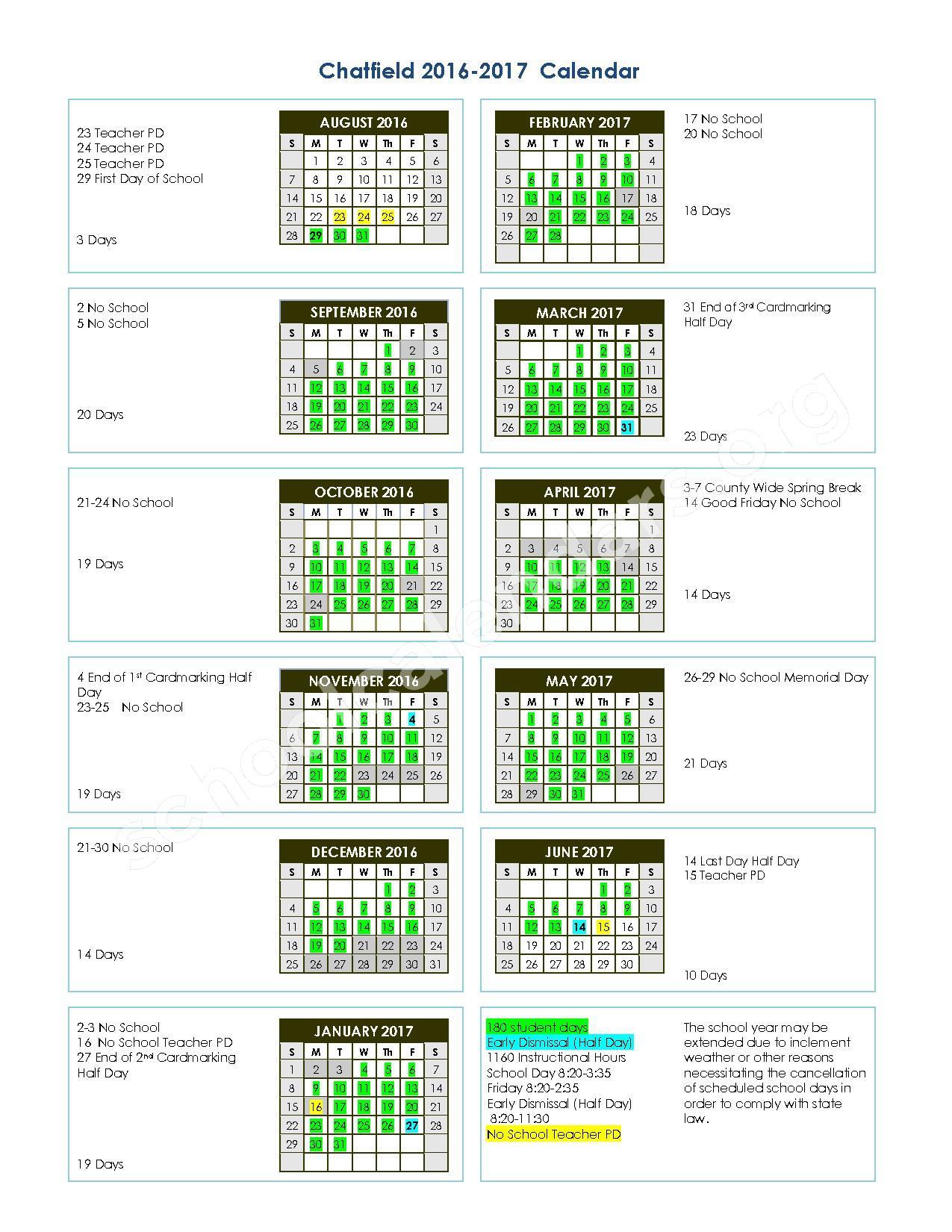 2016 - 2017 School Calendar – The Chatfield School – page 1