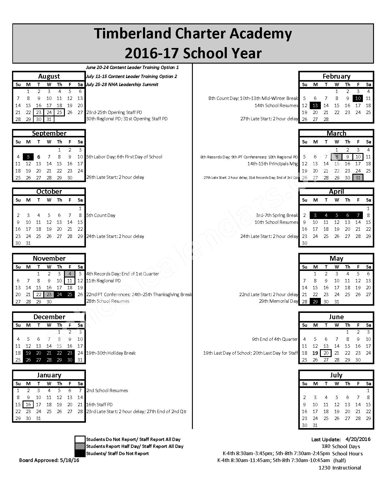 2016 - 2017 District Calendar – Timberland Charter Academy – page 1