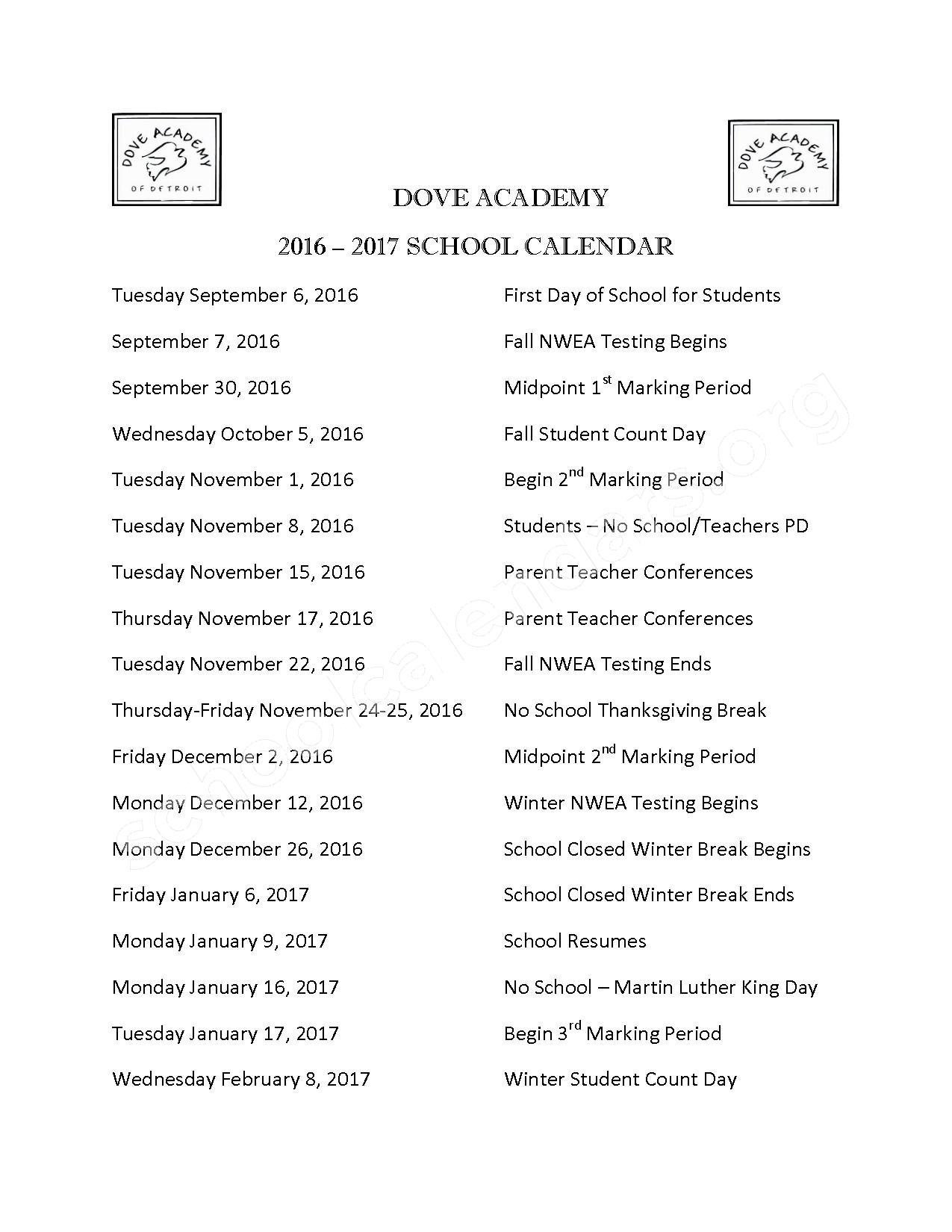2016 - 2017 School Calendar – Dove Academy of Detroit – page 1
