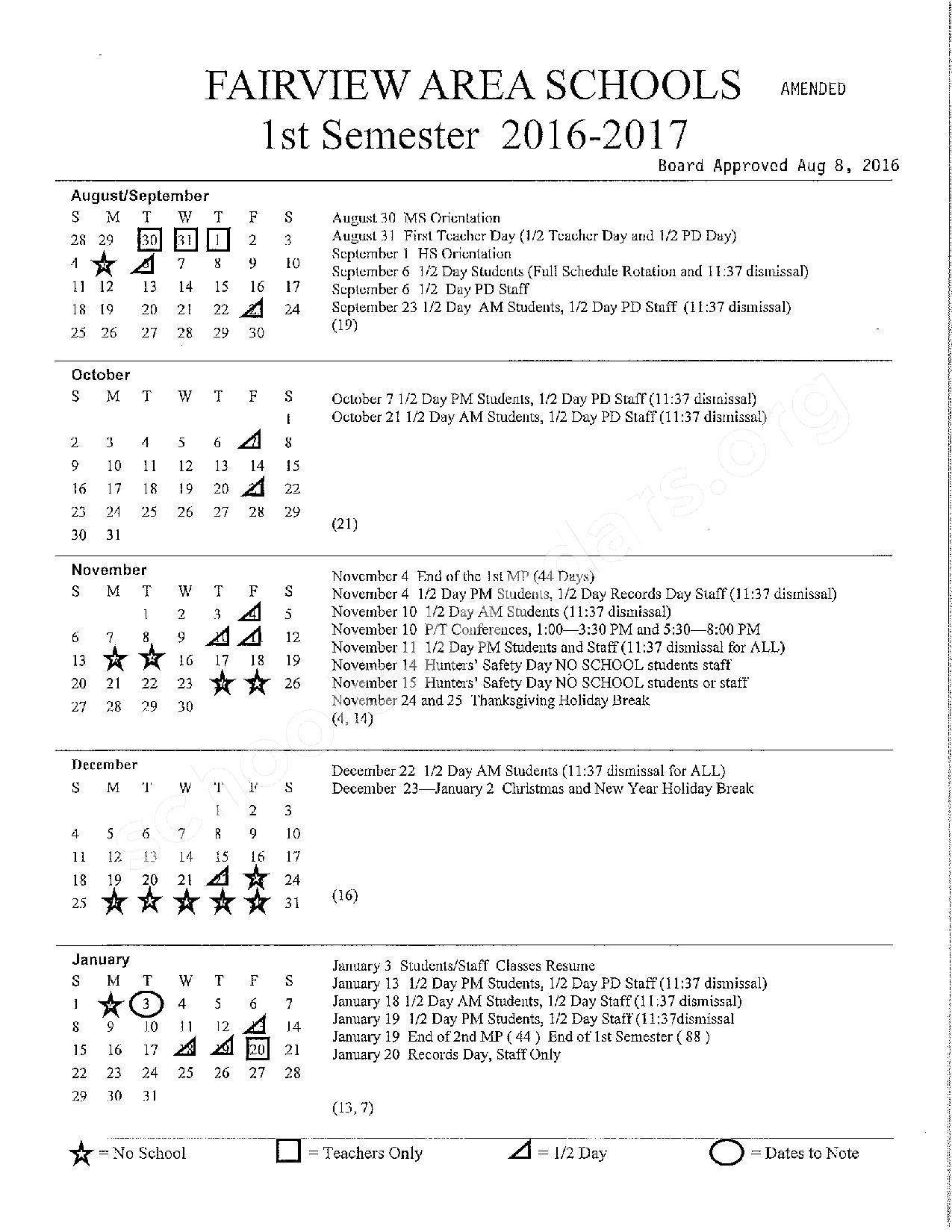 2016 - 2017 school calendar – Fairview Area School District – page 1