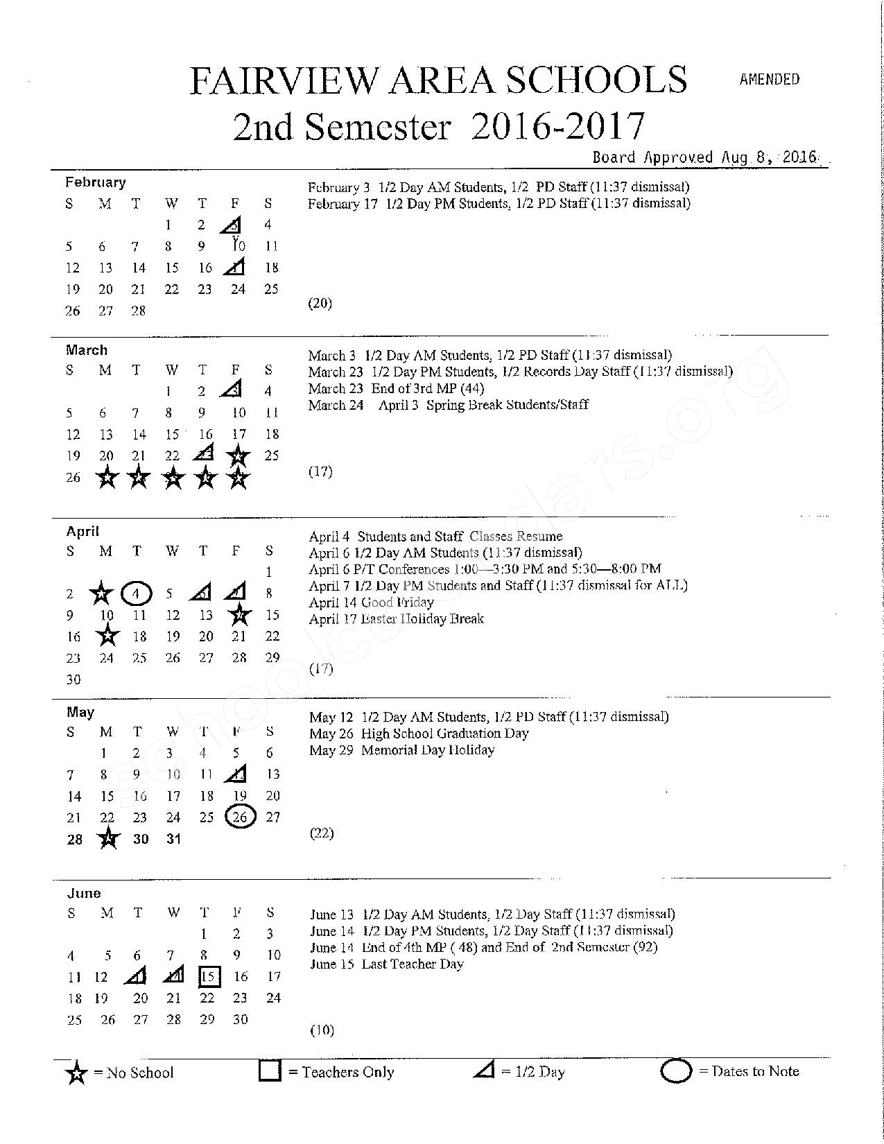 2016 - 2017 school calendar – Fairview Area School District – page 2