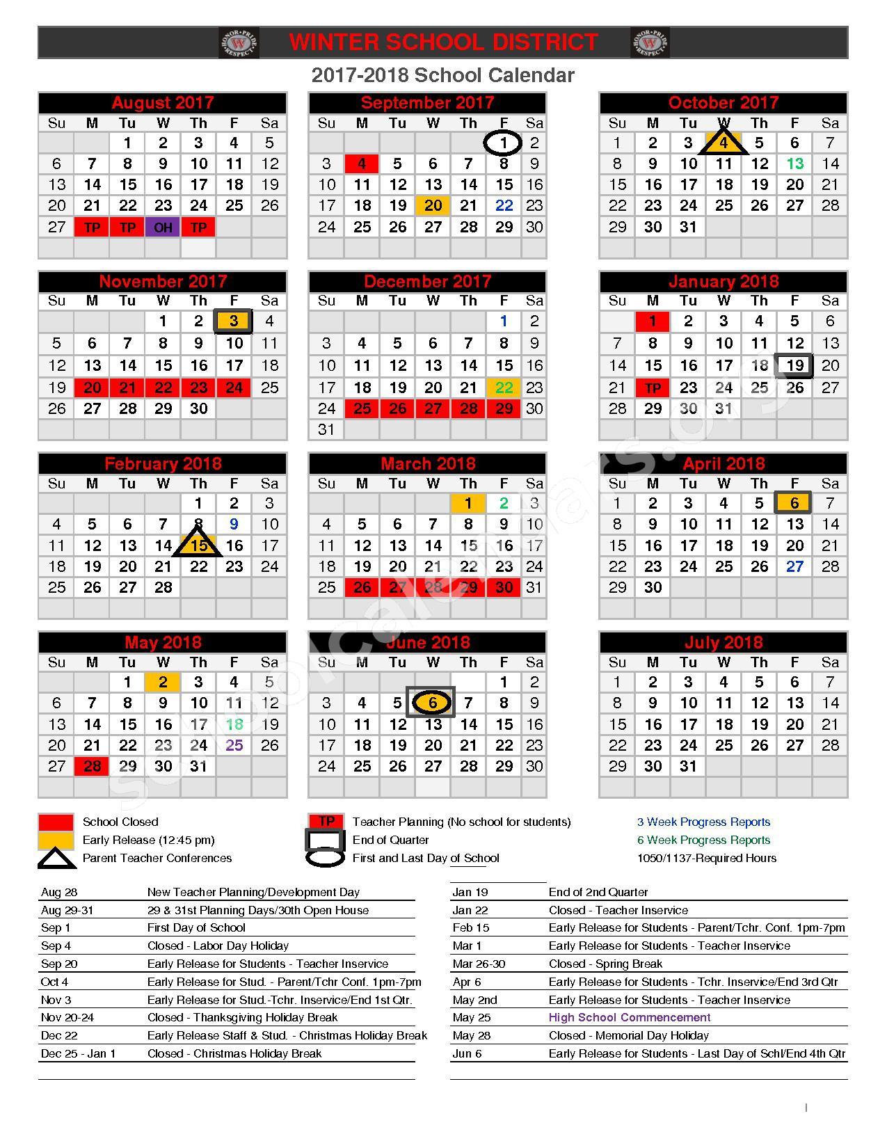 2017 - 2018 School Calendar – Winter School District – page 1