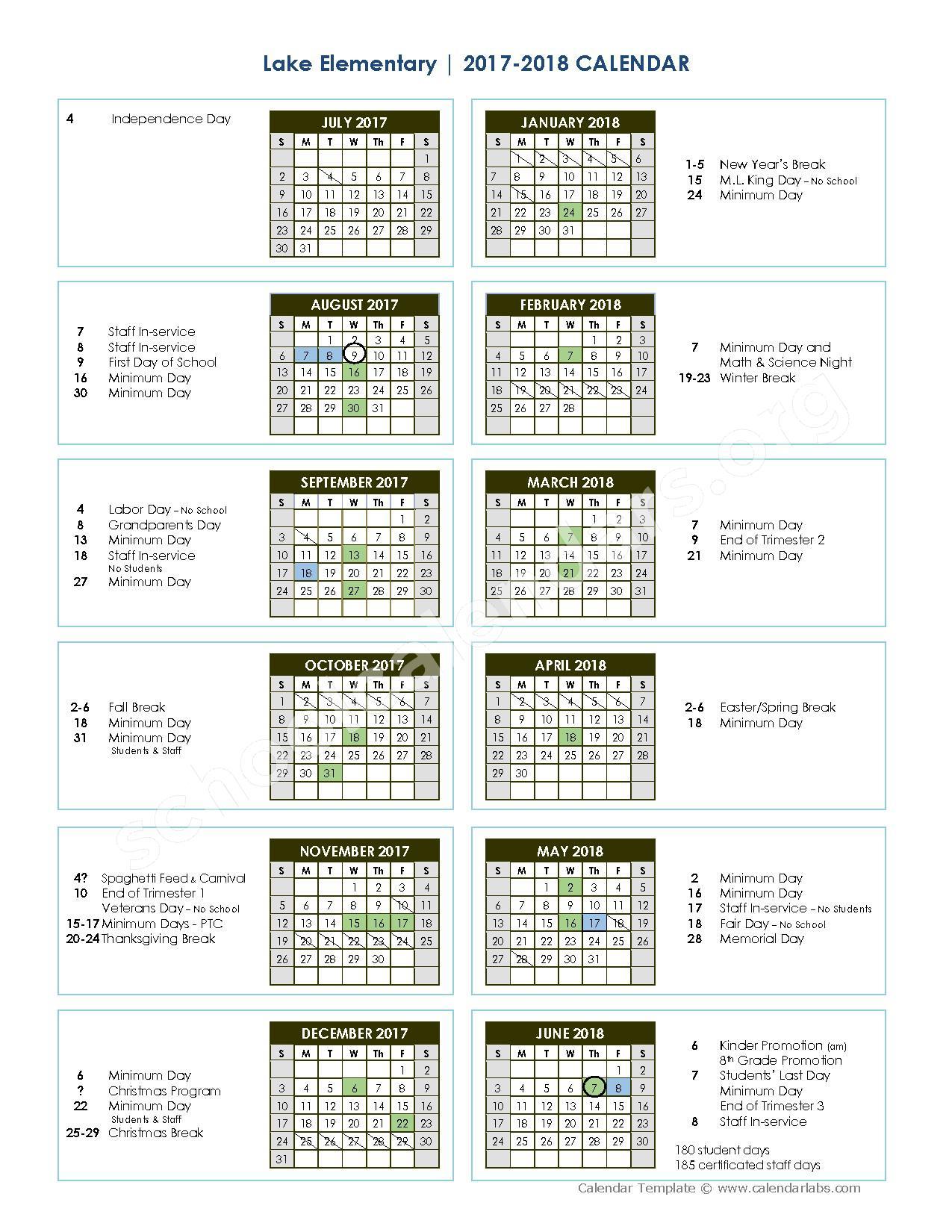 2017 - 2018 school calendar – Glenn County Office of Education – page 1